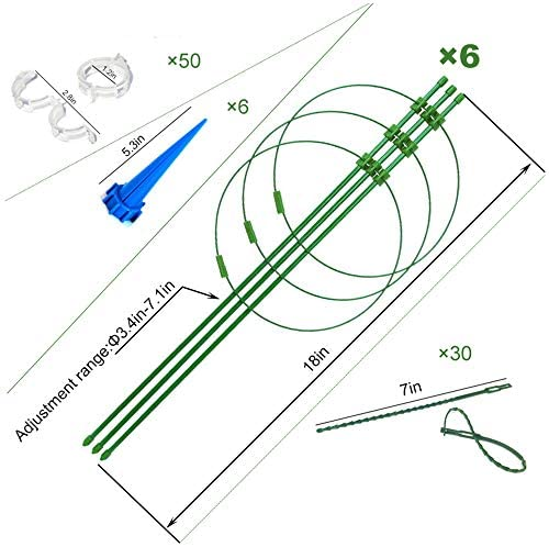 """6 Pack Plant Support Cages Metal with 3 Adjustable Rings for Potted Plants, Garden, Peonies, Peppers, Upgraded 18"""" Trellis with 6 Self Watering Spikes, 50 Plant Clips and 30 Plant Twist Ties : Garden & Outdoor"""