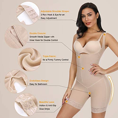 MASS21 Women's Shapewear Open Bust Bodysuit Compression Tummy Control Panty with Side Zipper Closure at Women's Clothing store