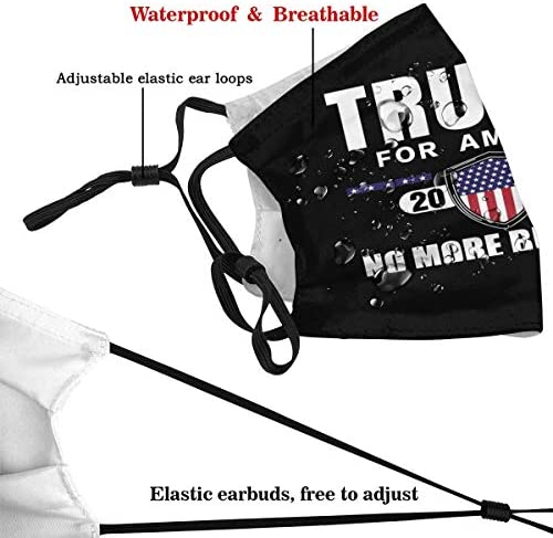 Trump No More Bullshit Adult Dust Face Cover Washable Reusable Replaceable Filter Activated Carbon: Clothing
