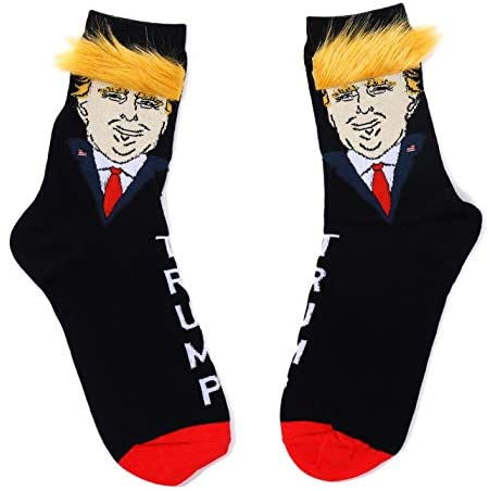 Trump Socks with Hair - Donald Trump Realistic Hair Gift Novelty Gifts Gag Gifts Funny Socks (StyleB 1Pair): Clothing