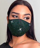 Fstrend Sparkly Rhinestones Face Mask Green Crystal Face Cover Cotton Masquerade : Beauty