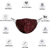 Rhinestone Glitter Bling Face Mask Sparkle Fashionable Crystal Fancy Diamond Sequin Bedazzled Sexy Designer Pretty Cute Girly Bridal Shiny Stylish Cool Halloween for Women Man Adult Costume(red) : Sports & Outdoors