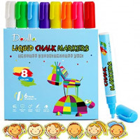 Erasable Liquid Chalk Markers for Blackboards, DOULLA Neon Chalkboard Markers Erasable Pens for Chalkboards Signs Windows Blackboard Glass Bistro, 6mm Reversible Tip (8 Pack) : Office Products