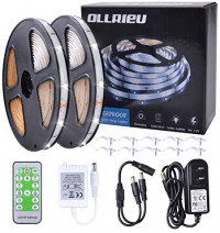 ollrieu LED Strip Lights 50ft Dimmable Tape Light Bright White Connectable Cuttable 450 Units 2835 SMD with 12V Power Plug in RF Remote Flexible Indoor Rope Lighting for Bedroom Cabinet Kitchen Mirror : Garden & Outdoor