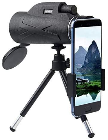 80x100mm Portable Super Telephoto Zoom Monocular Telescope, Mini HD Phone Camera Lens Telescope with Phone Clip,Tripod (Free Size, Black A): Clothing