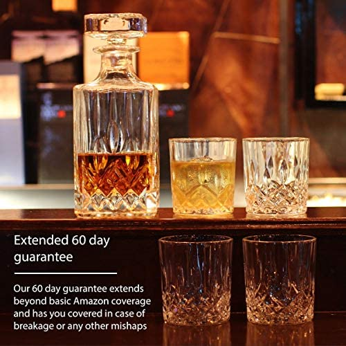 GoodGlassware Whiskey Decanter and Glasses (5 Piece Set) – Elegant Liquor Carafe with Ornate Solid Glass Stopper and 4 Matching Whisky Tumblers - Lead-Free and Dishwasher Safe: Liquor Decanters
