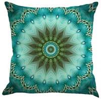 "Jartinle Set of 4 Retro Floral Mandala Compass Medallion Bohemian Boho Style Summer Decor Cushion Case Decorative for Sofa Couch 18"" x 18"" Inch Cotton Line (Floral Compass Medallion): Home & Kitchen"