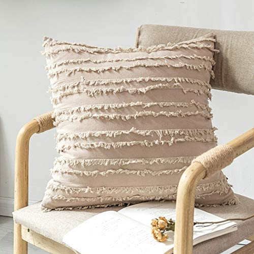 Boho Decorative Throw Pillow Covers, Cotton Linen Large Cushion Covers for Restaurant| Hotel| Party| Car| Office| Home| Outdoor Activities, 20 x 20 Inches, Pack of 2, Khaki: Home & Kitchen