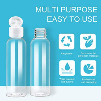 2 Ounce/60ml Plastic Empty Bottles with Flip Cap, Refillable Cosmetic Bottles, Air Flight Travel Bottles for Shampoo, Liquid Body Soap, Toner, Lotion, Cream - Clear - BPA-free - Set of 25