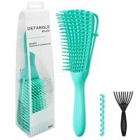 ALLYAG Detangling Brush - EZ Detangler Brush with Nylon Brush Teeth for Curly, Straight, Wet or Dry Hair - Improve Hair Quality & Massage Scalp Detangler Comb for Women, Men and Kids (Green) : Beauty