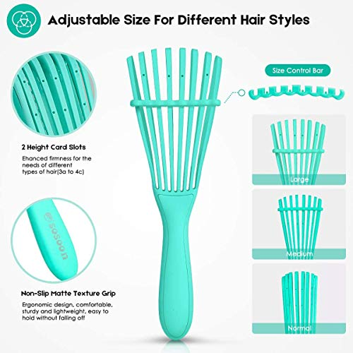 2 Pack Detangling Brush, Sosoon Detangle Hair Brush for Hair Textured 3a to 4c Kinky Wavy/Curly/Coily/Wet/Dry/Oil/Thick/Long/Short Hair, Green&Purple : Beauty
