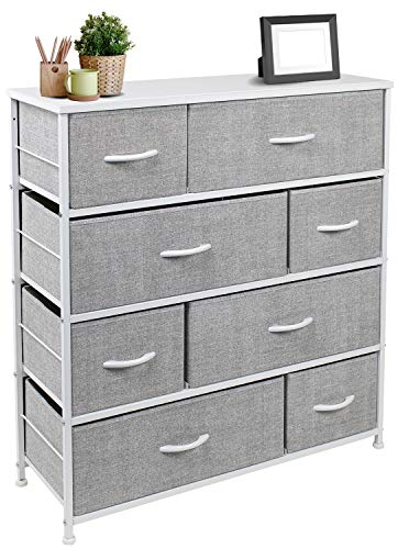 Sorbus Dresser with 8 Drawers - Furniture Storage Chest Tower Unit for Bedroom, Hallway, Closet, Office Organization - Steel Frame, Wood Top, Easy Pull Fabric Bins (White) : Baby