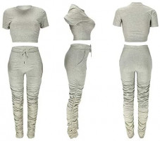 Womens 2 Piece Sports Outfits - Short Sleeve Crop Top + Ruched Long Pants Tracksuit Sweatsuit Set at Women's Clothing store
