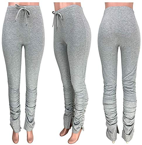 Women Stacked Leggings Ruched Workout Pants - Casual High Waist Drawstring Yoga Jogger Sportwear Flare Bell Sweatpants at Women's Clothing store