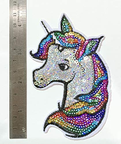 Iron on Patches#19,Unicorn Sequin Embroidered Kids Patches, Appliques and Decorative Patches, DIY Badge Patches Clothing Backpacks Jeans T-Shirt Caps Cute Patch by BossBee: Arts, Crafts & Sewing