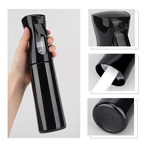 Hair Spray Bottles Continuous Spray Bottle for Hair, Yebeauty Hair Water Bottle Spray Mister Plastic Empty Fine Mist Salon Spray Bottle Mist Trigger-Black,300ml/10oz: Beauty