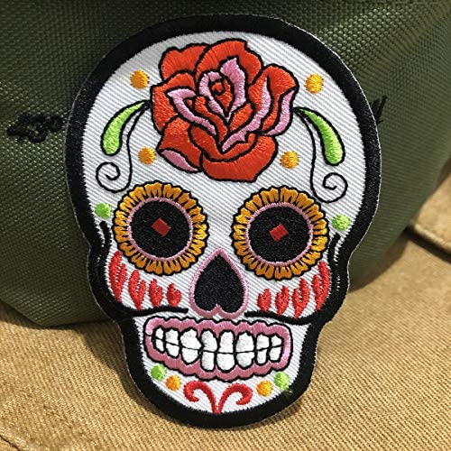 Sugar Skull Halloween day of the dead patches for jackets Sunny Buick Tattoo Rock Punk Sew Embroidered Applique Craft Accessory for decorate your Clothes Jeans Tshirt Jacket Pant Bag Backpack White: Home & Kitchen