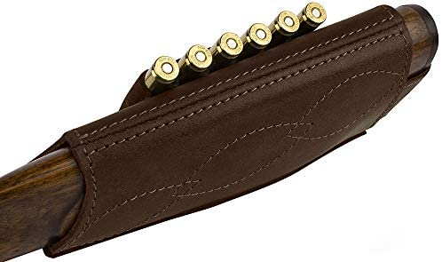 BRONZEDOG Adjustable Leather Buttstock Cartridge Ammo Holder for Rifles 12 16 Gauge or .30-30 .308 Caliber Hunting Ammo Pouch Bag Stock Right Handed Shotgun Shell Holder : Sports & Outdoors