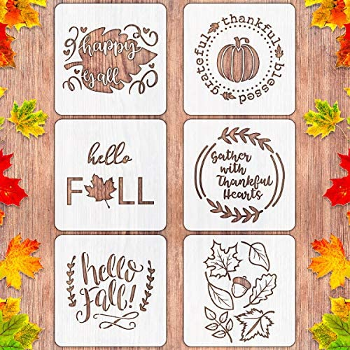 6 PCS Fall Thanksgiving Stencils for Painting on Wood 12 Inch Large Reusable Pumpkin Stencils for Farmhouse Home Decor