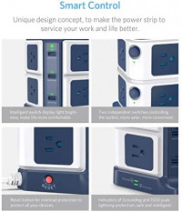 USB Power Strip with Wireless Charger BESTEK 8-Outlet Surge Protector and 40W 6-Port USB Charging Dock Station,1500 Joules,ETL Listed,Dorm Room Accessories: Electronics