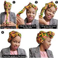 Novarena Long Kente Ankara African Print Headwraps for Women Hair Tie Scarf Turbans Dashiki Head wraps (Green, Black and Orange): Beauty