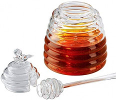 Handmade Honey Jar with Dipper, Glass Made Honey Dipper and Honey Pot, Gorgeous Bee Decor By Hunnibi: Home Improvement