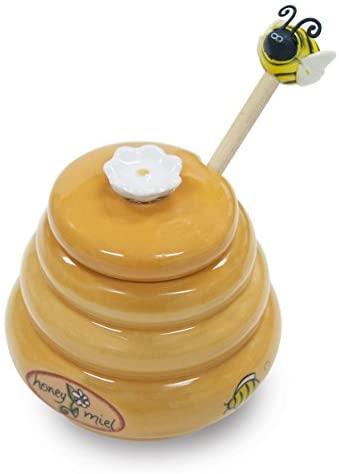 Joie Ceramic Beehive Honey Pot and Wooden Dipper, Mini: Honey Jars: Kitchen & Dining