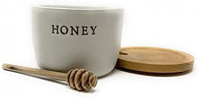 Stoneware Honey Pot with Acacia Wood Dipper and Lid by Hearth and Hand with Magnolia (Premium edition): Home Improvement