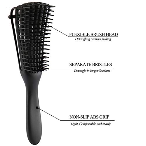 EZ Detangling Brush for Curly Hair Detangler for Afro America Textured 3a to 4c Kinky Wavy Wet Dry Long Thick Natural Black Hair Apply Conditioner/Oil (2 Pack, Black) : Beauty