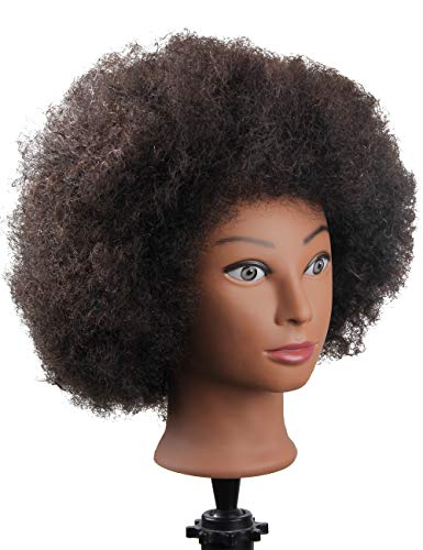 African American Mannequin Head with 100% Human Hair Manican Head with Stand for Styling Hair Blowing Hair Cutting Braiding (Afro Style) : Beauty