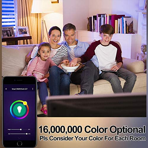 OHLUX Smart WiFi LED Light Bulbs Compatible with Alexa and Google Home (No Hub Required), RGBCW Multi-Color, Warm to Cool White Dimmable, 60W Equivalent, 7W E26 A19 Color Changing Bulb-4PACK