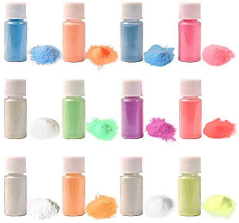 12 Color Glow in The Dark Pigment Powder with UV Lamp, Luminous Powder Long Lasting Self Glowing Dye for Painting, Crafts, Epoxy Resin, DIY Nail Art (20g/ 0.7oz Each)