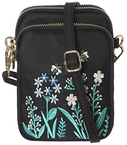 HAIDEXI Lightweight Nylon Small Purses and Embroidered small bee bag Small Crossbody bag Cell Phone Purses Wallet for Women (Embroidery-A): Handbags