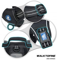 WALKTOFINE Dog Harness Adjustable No-Pull Pet Harness Reflective Working Training Tactical Dog Harness Black S : Pet Supplies