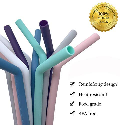 Senneny Set of 12 Silicone Drinking Straws for 30oz and 20oz Tumblers Yeti/Rtic- Reusable Silicone Straws BPA Free Extra Long with Cleaning Brushes- 6 Straight + 6 Bent- 8mm diameter: Kitchen & Dining