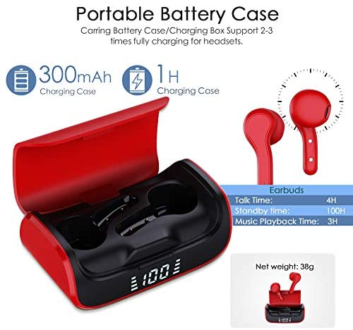EINCAR Wireless Bluetooth Earbuds with Charging Case, K28R 3-4H Playtime 3D Stereo in-Ear Headphones for iPhone/Samsung/Android/Windows, Bluetooth Earphones with Built in Mic Support Siri Wake up: Home Audio & Theater