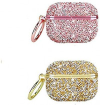 ICI-Rencontrer Luxury Bright Crystal Air pods Cover Girls Women Shining Glitter Diamond Plastic Protective Bluetooth Wireless Earphone Case for Airpods 1 & 2 with Keychain Pink: Kitchen & Dining