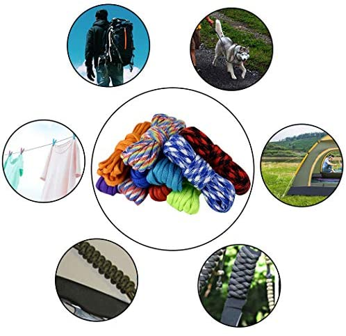 HOVEOX 16Pcs Multicolor Paracord Cord 550 Paracord Ropes Paracord Kits with 16Pcs Buckles 5Pcs Carabiners 5Pcs Key Rings and 2Pcs Whistles : Sports & Outdoors