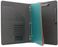 Binder Portfolio Organizer with Color File Folders, Business and Interview Padfolio with 3-Ring Binder, Clipboard : Office Products