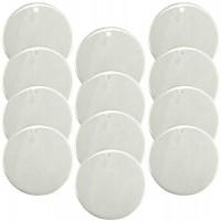 """Sublimation Blank Porcelain Ornament 3"""" Round with Gold Cord Hanger (12 Pack)"""