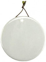 "Sublimation Blank Porcelain Ornament 3"" Round with Gold Cord Hanger (12 Pack)"