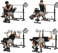Adjustable Weightlifting Bed Bench Press Squat Rack Indoor Multi-Function Olympic Weight, Strength Training Fitness Equipment for Full-Body Workout (Gray) : Sports & Outdoors