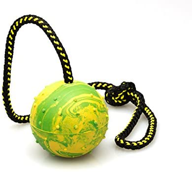 "Pet Supplies : Dog Rubber Ball on Rope - K9 Training, Reward, Fetch - 3"" (75mm)"