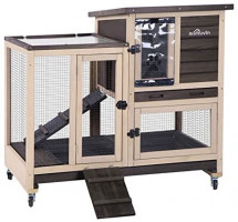 Aivituvin Upgrade Rabbit Hutch Rabbit Cage Indoor Bunny Hutch with Run Outdoor Rabbit House with Two Deeper No Leak Trays - 4 Casters Include (Grey): Pet Supplies