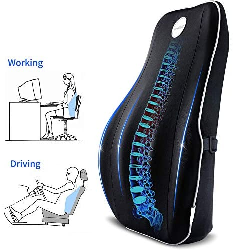 Villsure Lumbar Support Pillow, Memory Foam Back Cushion for Lower Back Pain Relief with Adjustable Elastic Belt, Ergonomic Lumbar Pillow with Breathable Cover for Office Chair/Car Seat/Wheelchair: Home & Kitchen