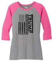 Comical Shirt Ladies Trump American Flag MAGA 2020 3/4 Raglan: Clothing