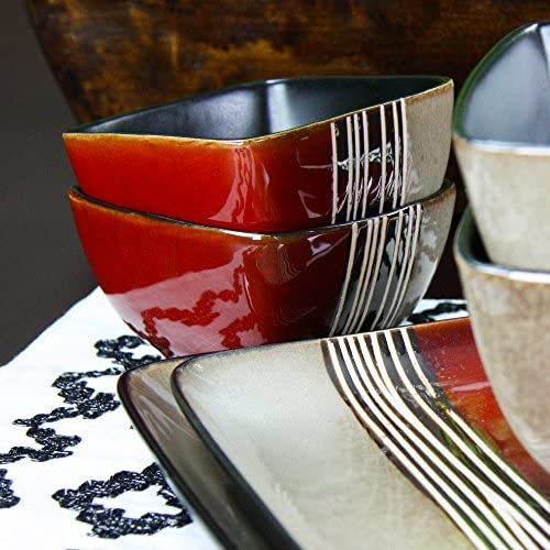 Elama Square Stoneware Loft Collection Dinnerware Dish Set, 16 Piece, Red and Tan with White Accents: Dinnerware Sets