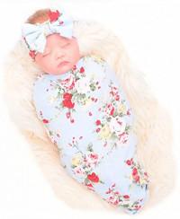 Galabloomer Newborn Receiving Blanket Headband Set Flower Print Baby Swaddle Receiving Blankets: Home & Kitchen