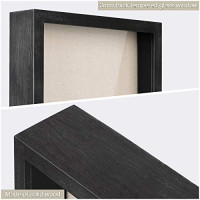Love-KANKEI Shadow Box Frame 11x11 Shadow Box Display Case with Solid Wood Frame and Removable Glass Window Memory Box for Memorabilia Photos Awards Medals Weathered Black
