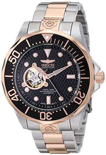 Invicta Men's 13708 Grand Diver Automatic Black Textured Dial Two-Tone Stainless Steel Watch: Watches